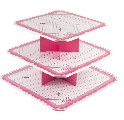 Dots Pink Cake Stand 3 Tier Large Wedding Anniversary Christmas Party Decoration